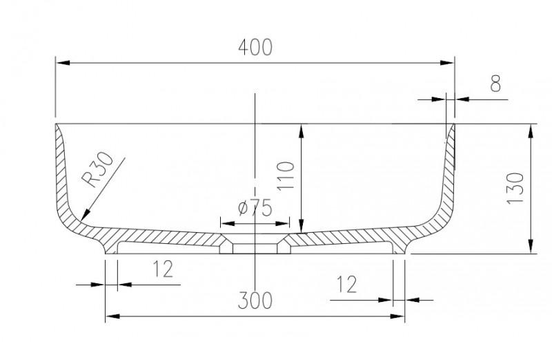 Mineralguss Aufsatzbecken Waschbecken Quadrat PB2120 - 40x40x13cm - Pure Acrylic zoom thumbnail 4