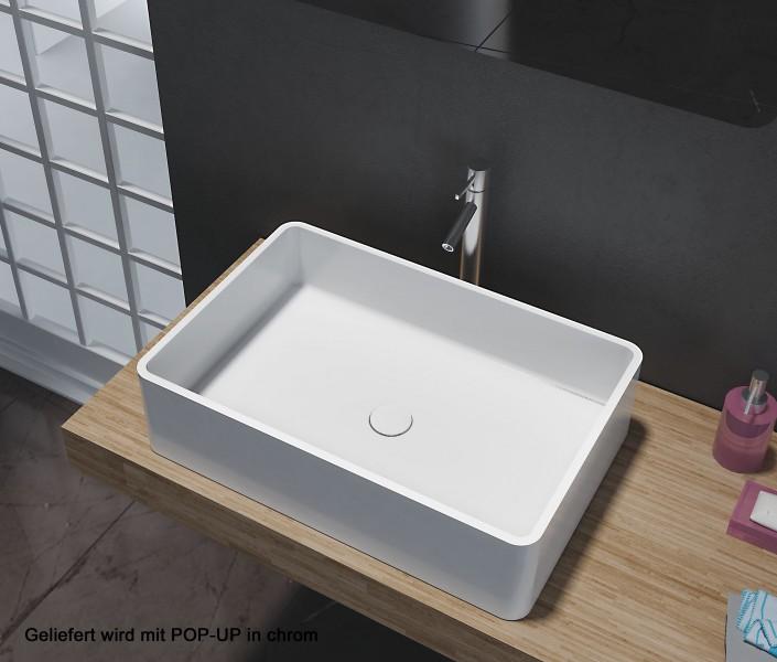 Aufsatzbecken Aufsatz-Waschbecken Rechteck PB2012 - Design geradlinig - 60 x 40 x 15 cm