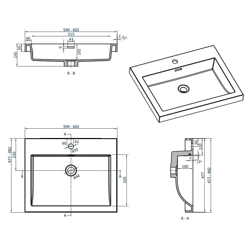 Badmöbelset M600 Eiche geweißt - Badspiegel optional wählbar zoom thumbnail 4