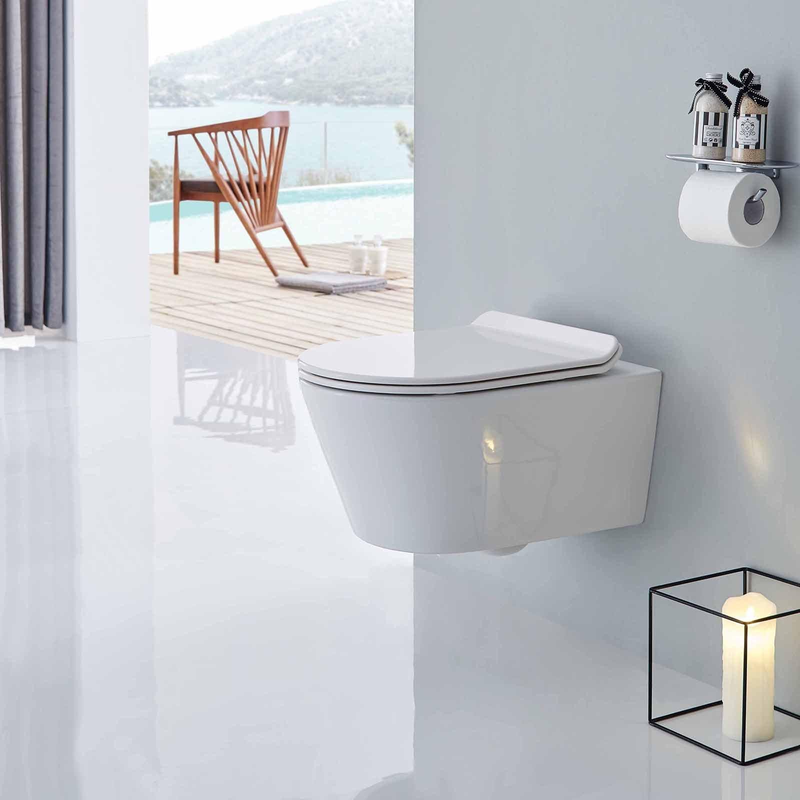 BERNSTEIN Wand-Hänge-WC Toilette CH1088 - inkl. WC-Deckel Softclose flach