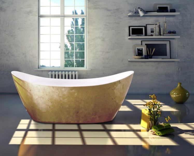 Freistehende Badewanne SIENA Acryl Gold 173 x 73 cm - Blattgold-Oberfläche