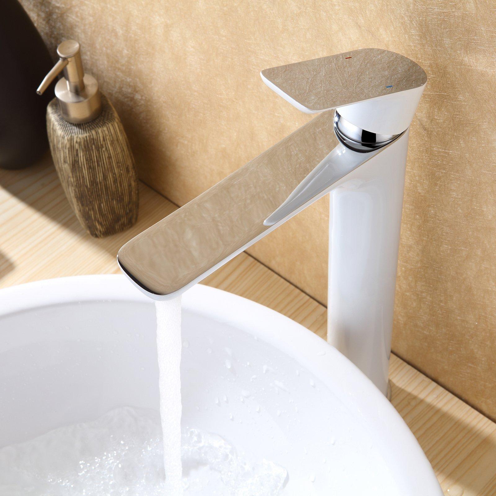 Hochwertige Waschtischarmatur Armatur Badarmatur 4025CW in Weiß/Chrom Glänzend zoom thumbnail 5