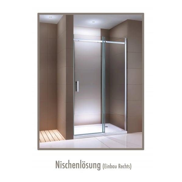 Dusche für Nische mit Schiebetür DX806A FLEX - Nano ESG-Sicherheitsglas - Breite wählbar zoom thumbnail 3
