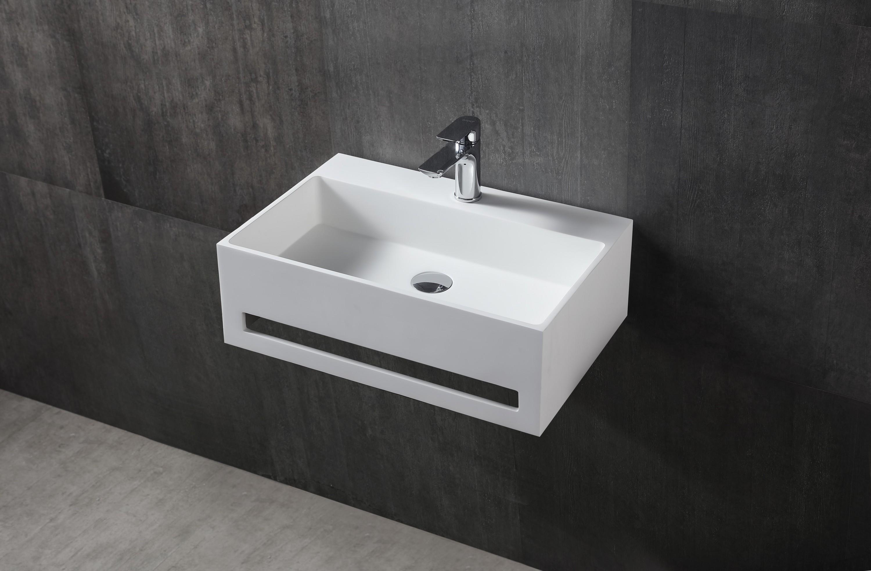 Wandwaschbecken TWG02 aus Mineralguss Solid Stone mit integriertem Handtuchhalter - 60x40x20cm