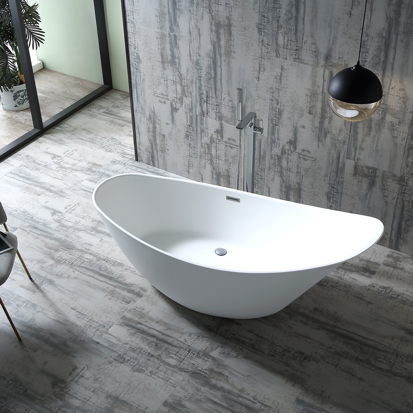 Freistehende Badewanne SOPHIE Acryl Weiß - 190 x 80 x 82,80 cm - Standarmatur wählbar