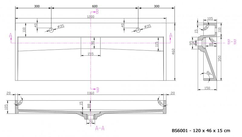 Wandwaschbecken Aufsatzwaschbecken BS6001 mit 2 Armaturlöchern - Breite 120 cm  zoom thumbnail 3