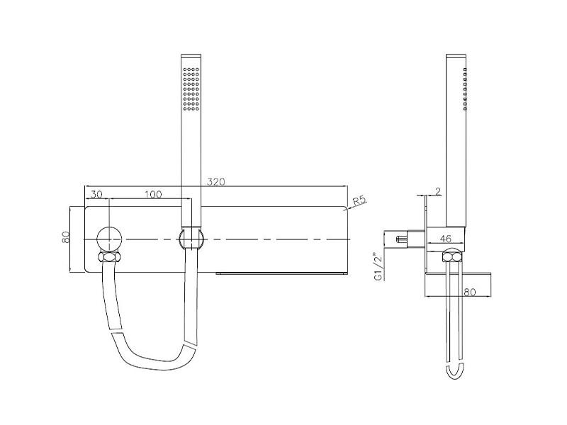 Wandanschlussbogen CZT050-1 mit Brausehalterung - Inkl. Brauseschlauch & Handbrause zoom thumbnail 5