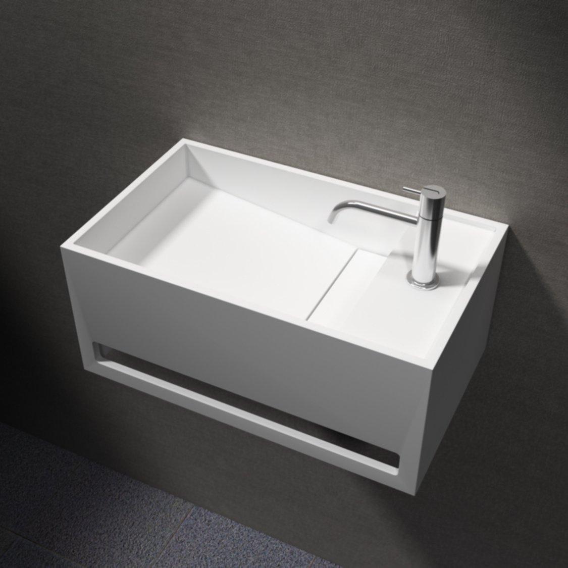 Waschbecken Wandwaschbecken PB2078 mit integriertem Handtuchhalter aus Mineralguss Solid Stone
