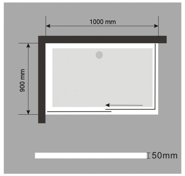 Duschtasse Duschwanne rechteckig - 100x90cm - inkl. Ablaufgarnitur zoom thumbnail 4