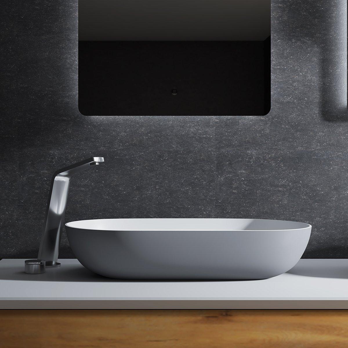 Aufsatzwaschbecken O-540 aus Mineralguss - Grau/Weiß - 54 x 34 x 12 cm
