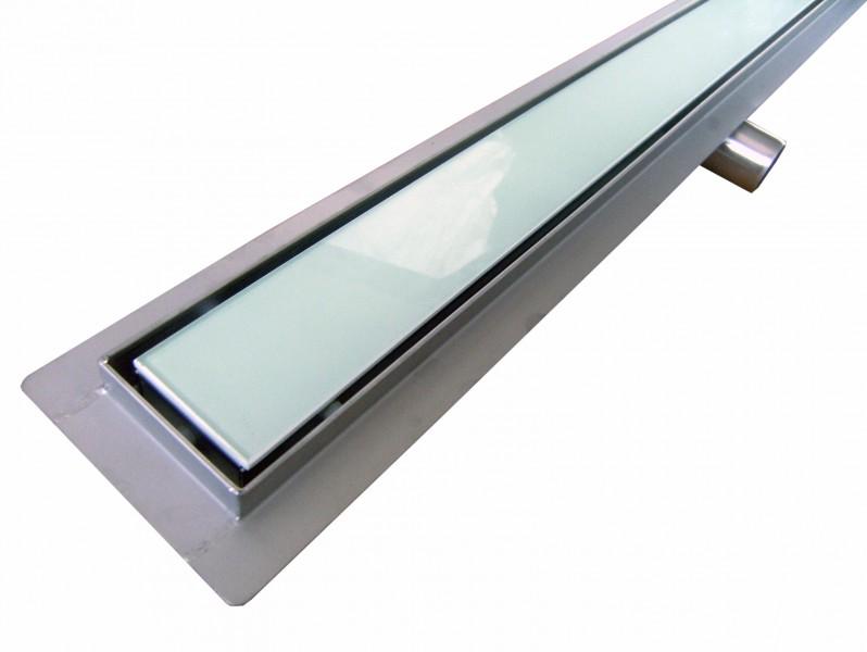 Edelstahl-Duschrinne GL02 für Duschkabine - Ablaufblende Glas weiß - Länge wählbar