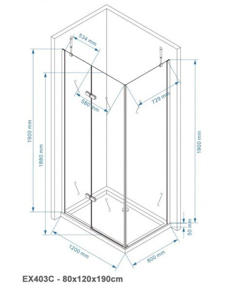 Duschkabine Eckdusche EX403C 6mm NANO Echtglas - 80x120x190cm  zoom thumbnail 6