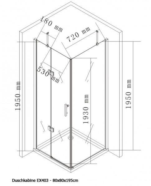 Duschkabine Eckdusche Nano Echtglas EX403 - 80 x 80 x 195 cm zoom thumbnail 4