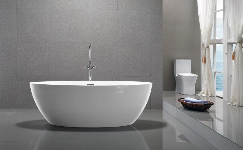 Freistehende Badewanne DESTINO Acryl weiß - 175x100cm - Armatur optional zoom thumbnail 4