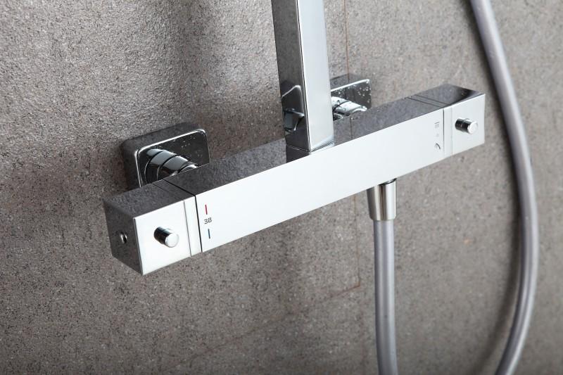 Design-Duschsäule Thermostat 3011 Basic inkl. Handbrause - Auswahl Duschkopf eckig & rund zoom thumbnail 5