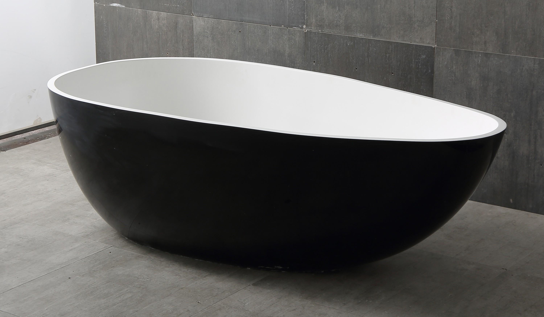 Freistehende Badewanne VELA aus Mineralguss Solid Stone - Farbe und Größe wählbar