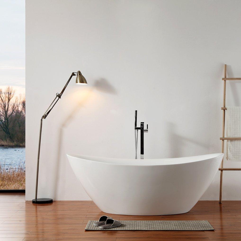 Freistehende Badewanne Acryl BELLAGIO weiß glänzend - 180 x 86 cm - Zubehör optional