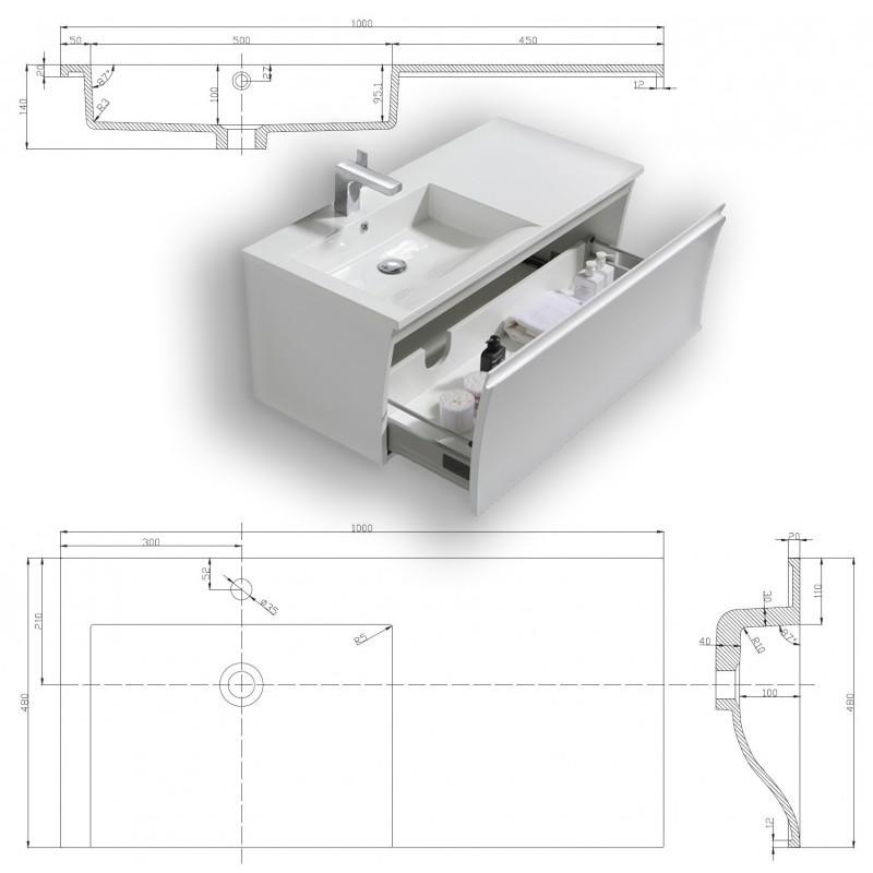 Badmöbel-Set Y1000 Weiß Hochglanz - Badspiegel optional wählbar zoom thumbnail 6