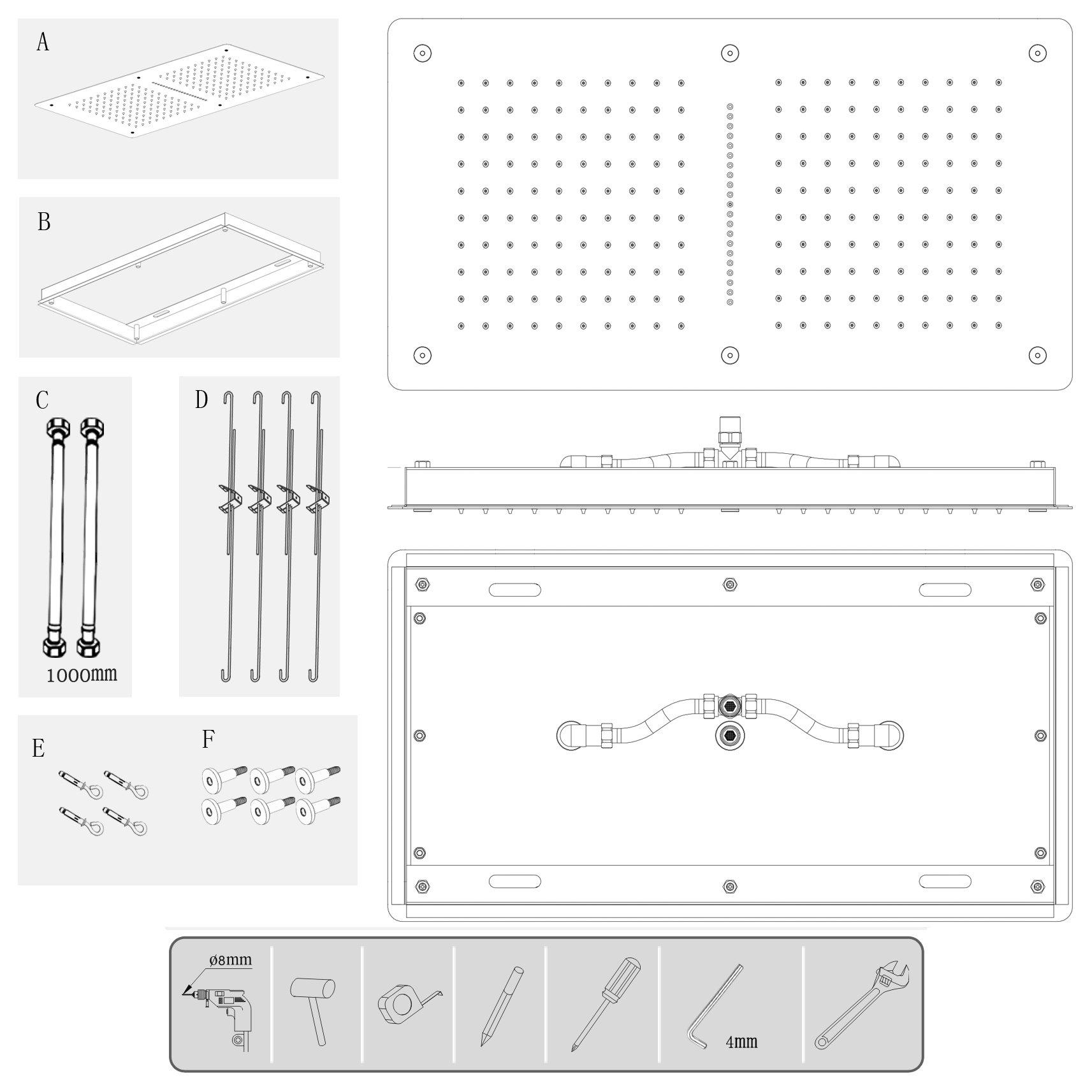 XXL-Regendusche Edelstahl-Deckenbrause DPG5019 superflach - 70 x 38 cm - Deckeneinbau zoom thumbnail 4
