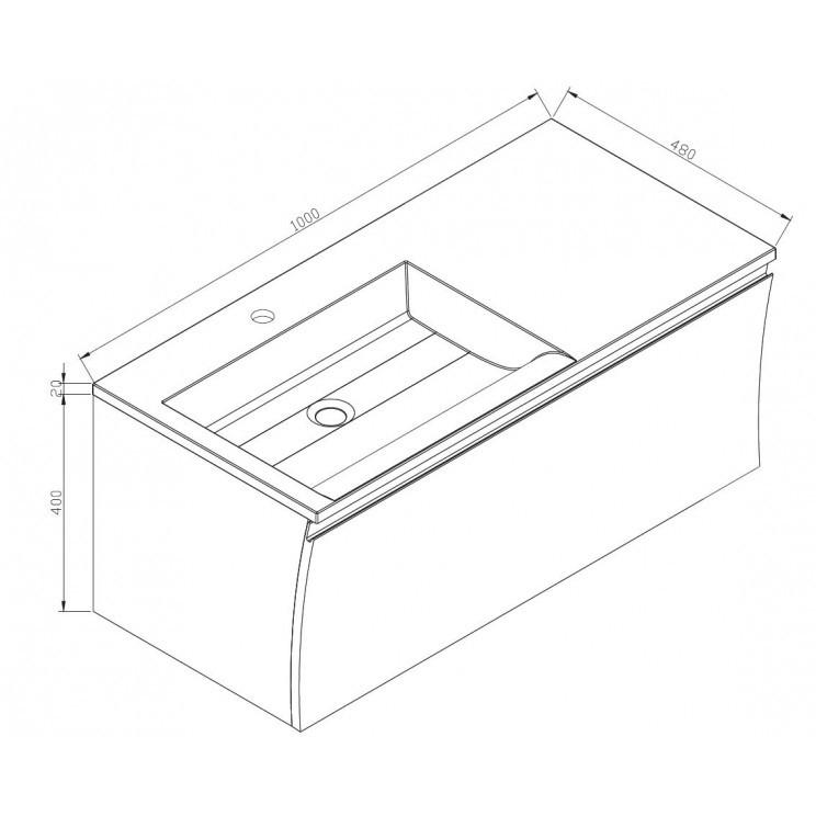 Badmöbel-Set Y1000 Weiß Hochglanz - Badspiegel optional wählbar zoom thumbnail 5