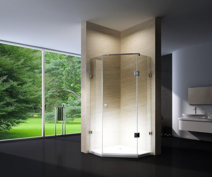 Duschkabine Fünfeckdusche NANO Echtglas EX415 - 80x80x195cm