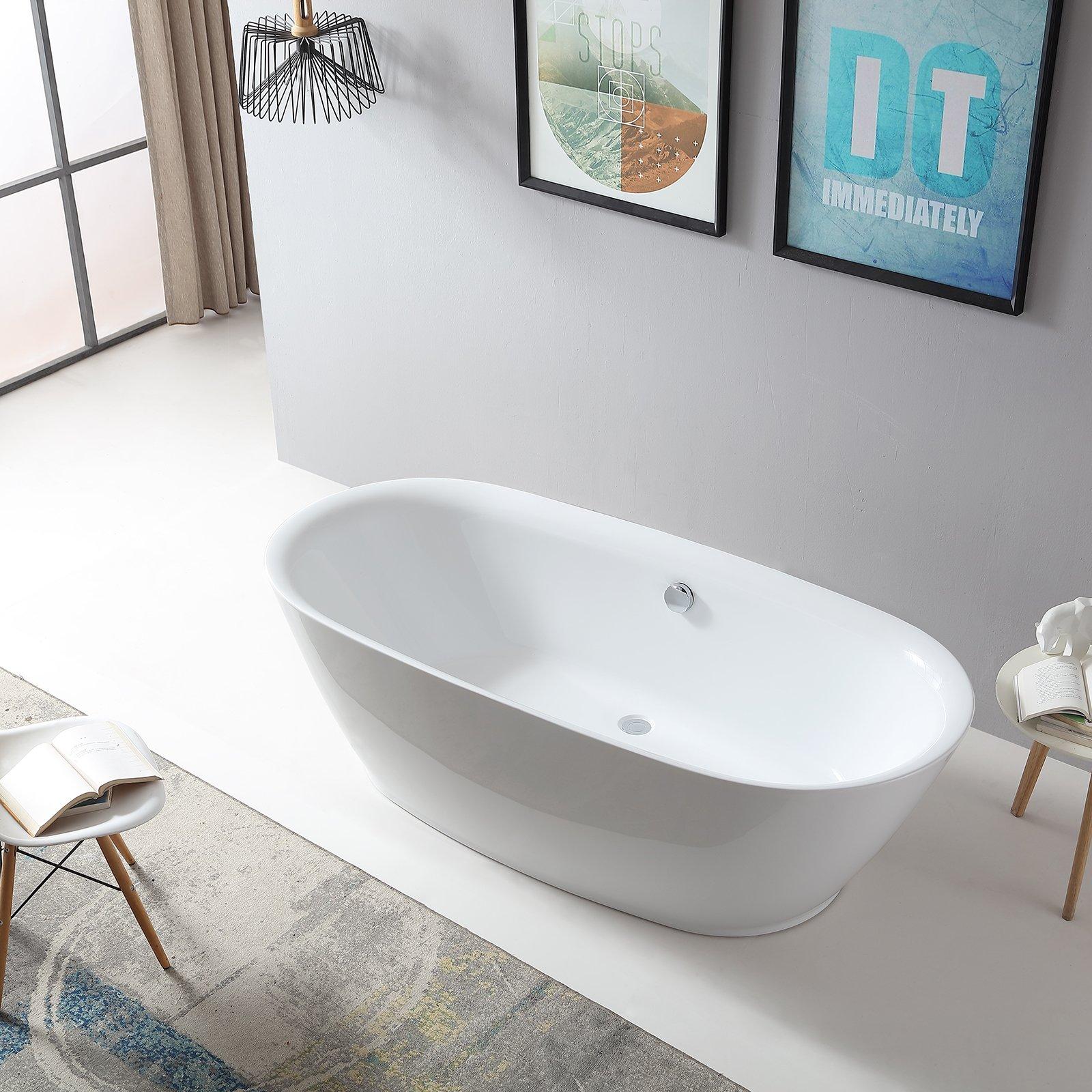 Freistehende Badewanne ROMA ACRYL weiß BS-916 180x84 inkl. Ab/ Überlauf