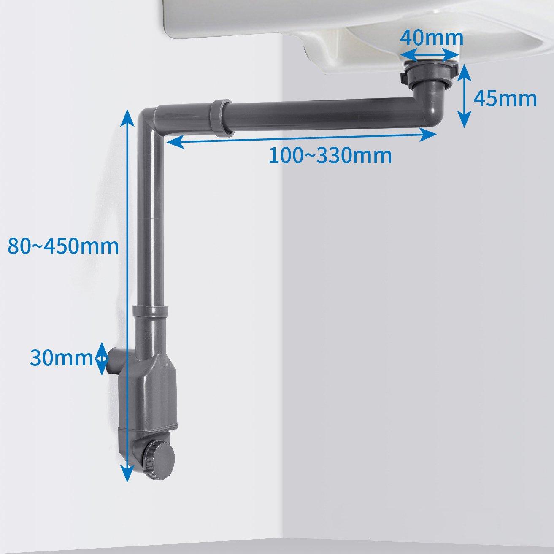 Raumsparsiphon 2050 - Geruchsverschluss für Waschbecken mit 1 1/4 Zoll-Anschluss