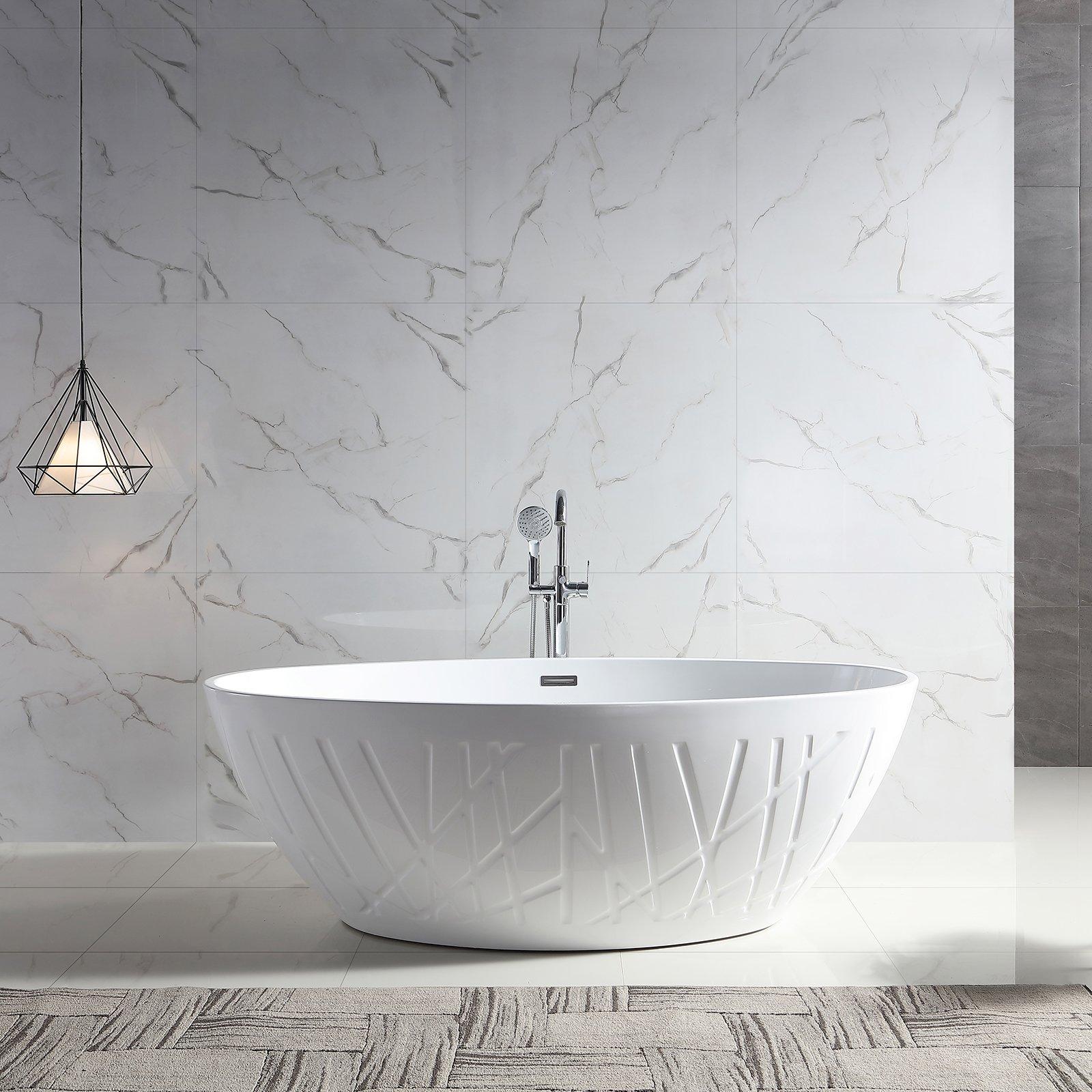 Freistehende Badewanne LEO Acryl Weiß glänzend - 175 x 100 x 58 cm - Standarmatur wählbar