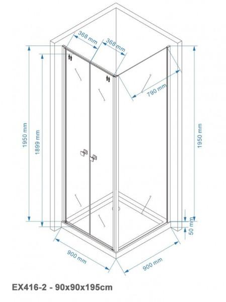 Duschkabine Eckdusche EX416-2 6mm NANO Klarglas - 90x90x195cm  zoom thumbnail 6