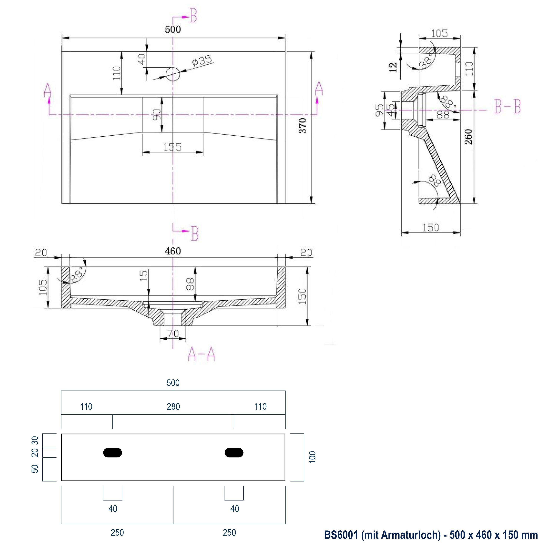 Wandwaschbecken Aufsatzwaschbecken BS6001 - Breite wählbar zoom thumbnail 5