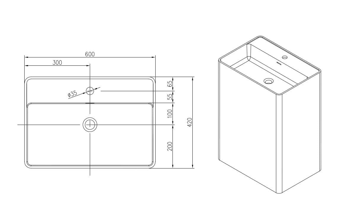 Freistehendes Waschbecken aus Mineralguss PB2022 weiß - 60 x 42 x 90 cm - Solid Stone zoom thumbnail 4