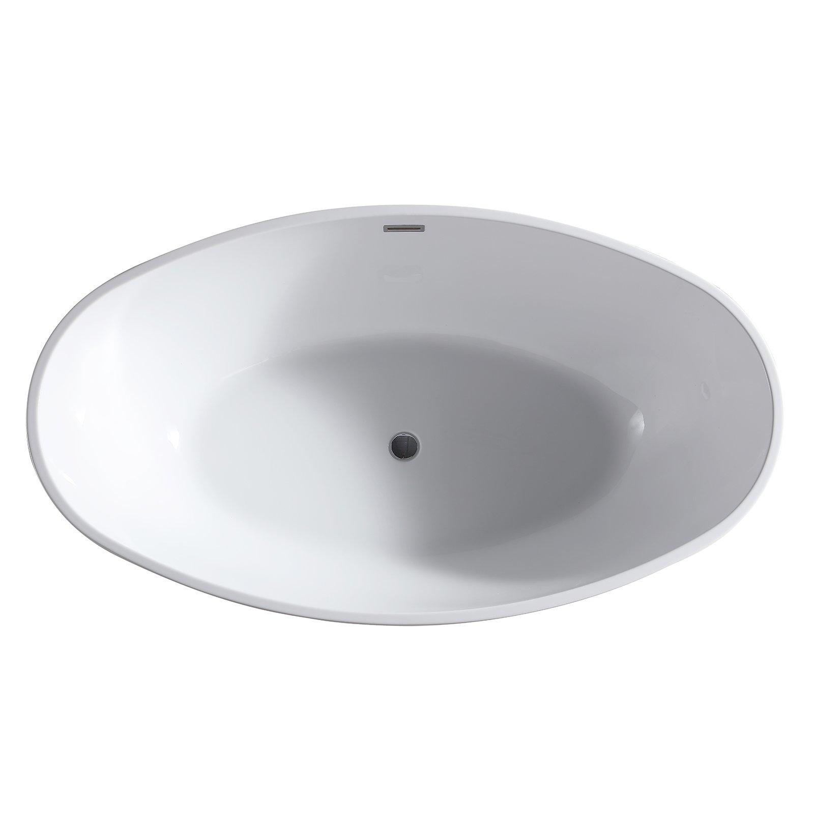 Freistehende Badewanne LEO Acryl Weiß glänzend - 175 x 100 x 58 cm - Standarmatur wählbar zoom thumbnail 3