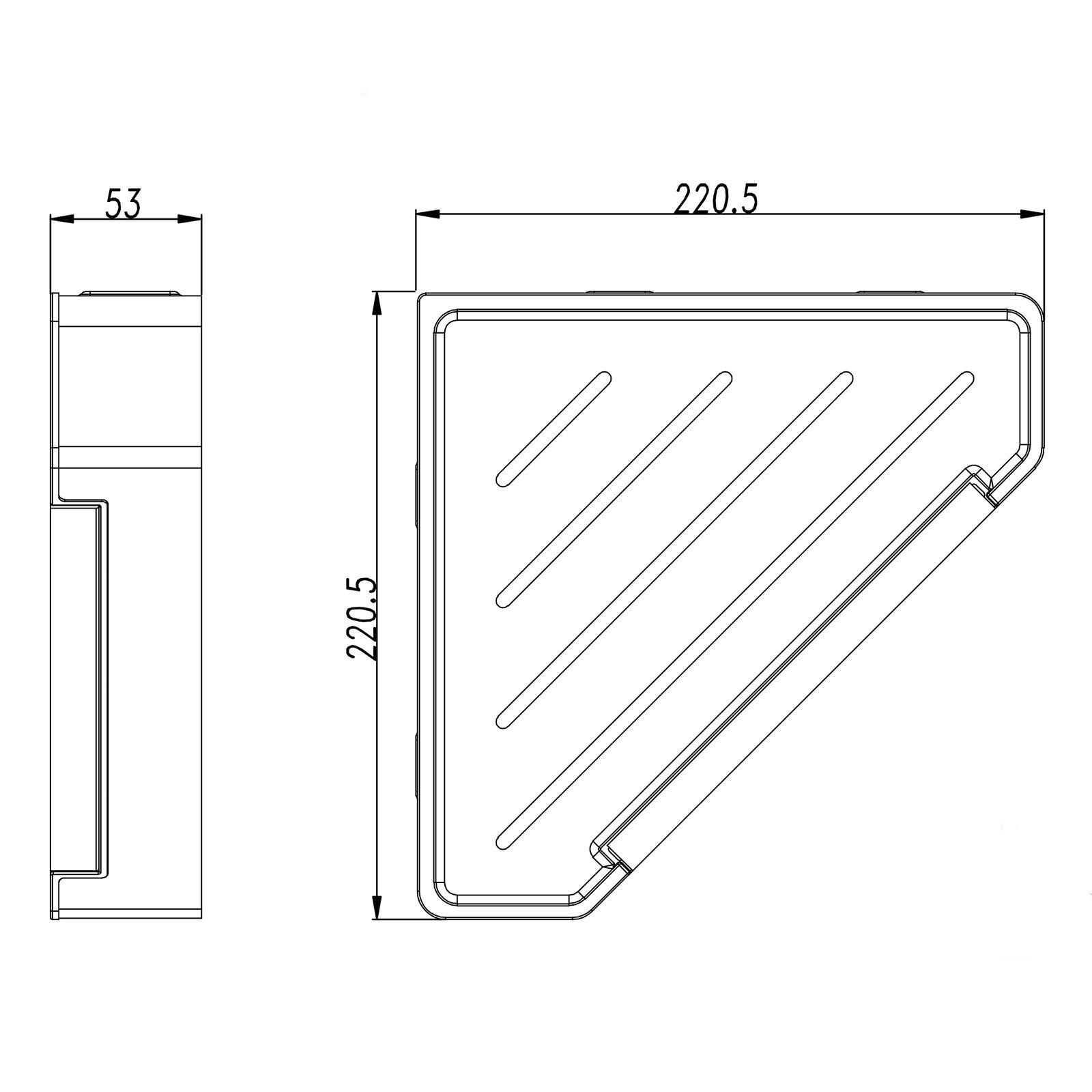 Eck-Duschkorb DK719 Edelstahl mit Duschabzieher - Farbe Chrom und Schwarz matt wählbar zoom thumbnail 3