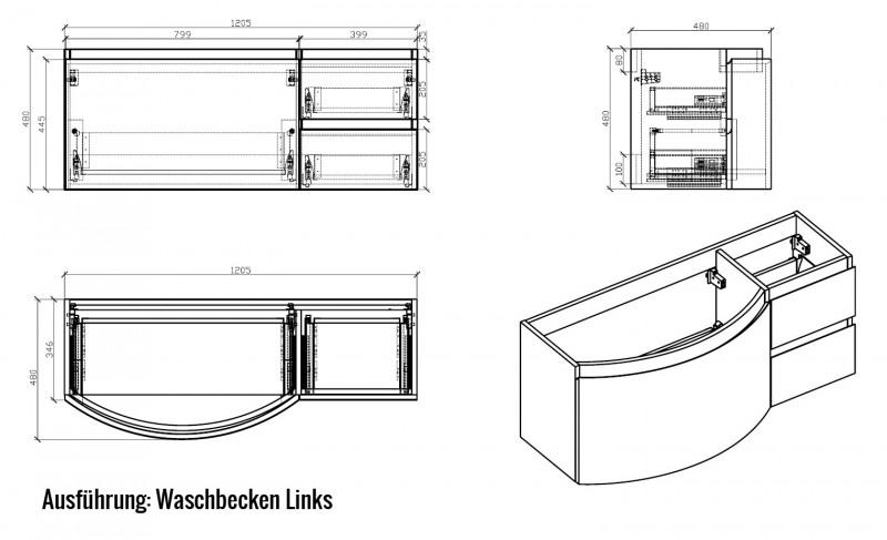 Badmöbel Set LAURANCE 1200 Schwarz matt - geschwungene Form zoom thumbnail 3