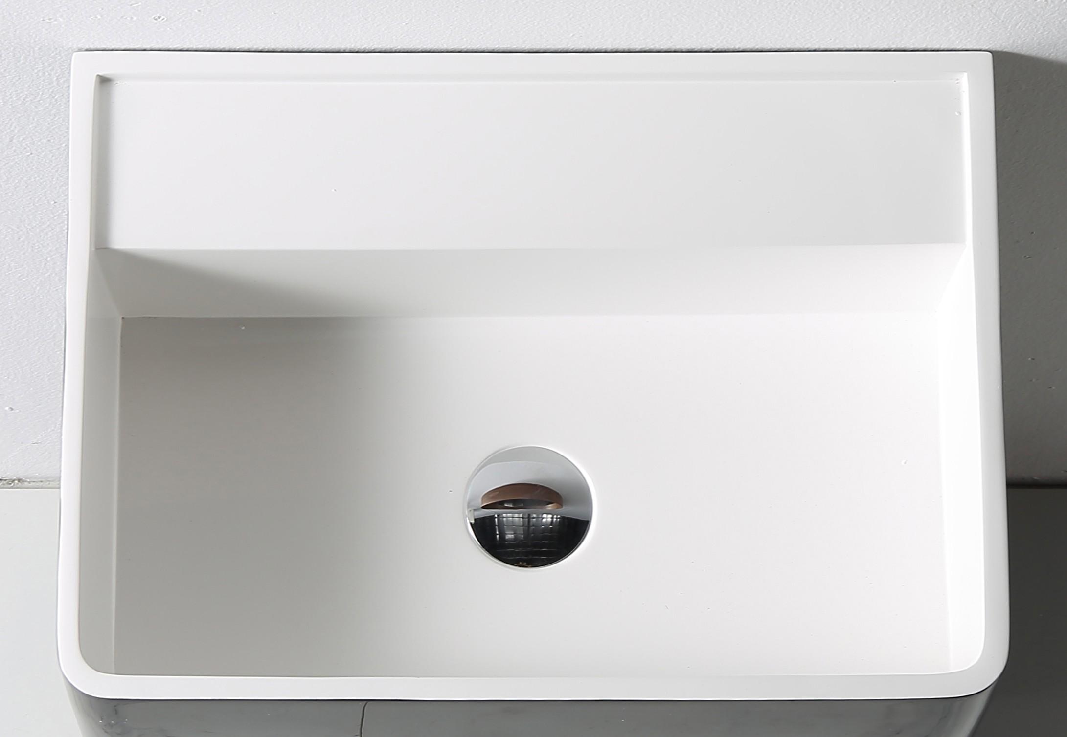 Standwaschbecken TWZ26 aus Mineralguss Solid Stone - in Weiß oder Schwarz - 50x36x85cm zoom thumbnail 4
