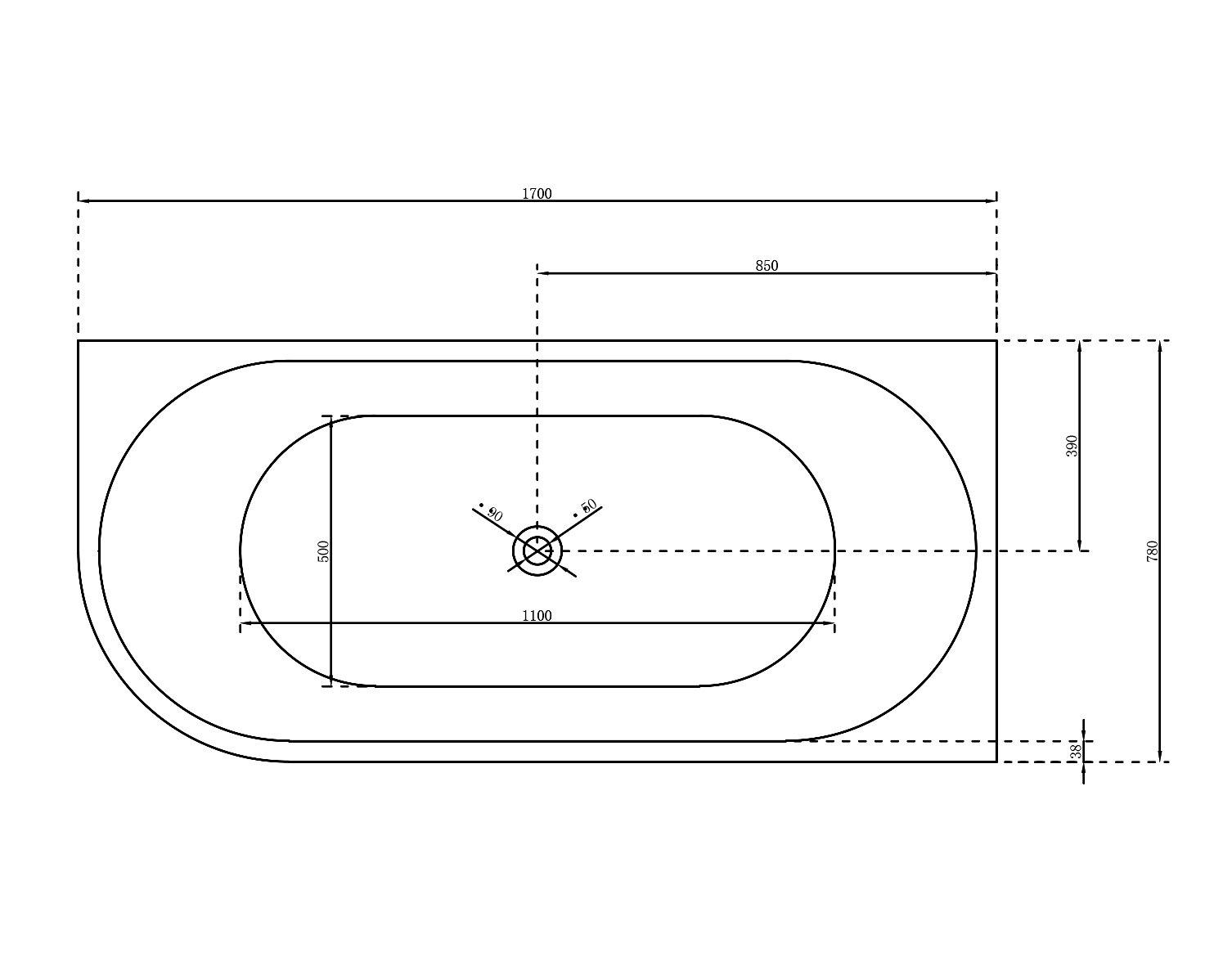 Freistehende Raumsparbadewanne NOVA CORNER Acryl Weiß - Einbau rechts - 170 x 78 cm - Oberfläche & Standarmatur wählbar
