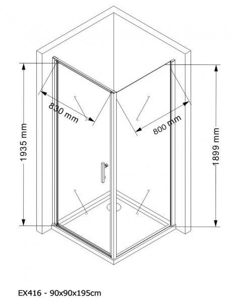 Duschkabine Eckdusche 8 mm Nano Echtglas EX416 - 90 x 90 x 195 cm inkl. Duschtasse zoom thumbnail 5