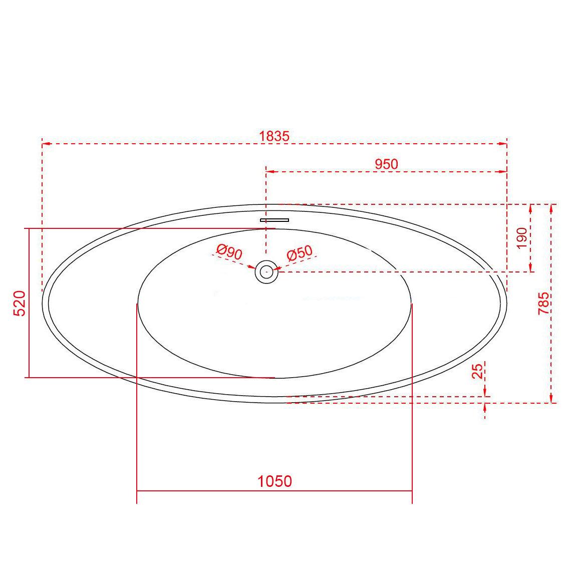 Freistehende Badewanne VICE Acryl Weiß - 183,5 x 78,5 cm - Oberfläche & Standarmatur wählbar zoom thumbnail 6