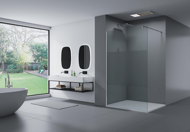 Duschabtrennung Walk-In Dusche EX101 8mm Nano Echtglas - Milchglas-Streifen - Breite wählbar