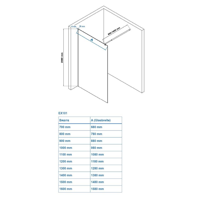 Duschabtrennung Walk-In Nano Echtglas EX101 - 10mm - Klarglas - Breite wählbar zoom thumbnail 5