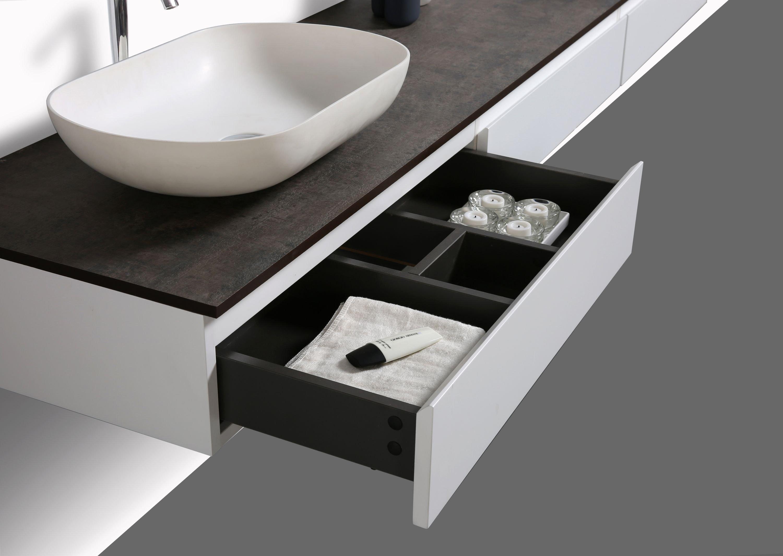 Badmöbel Vision 2250 Weiß matt - Aufsatzwaschbecken optional zoom thumbnail 6