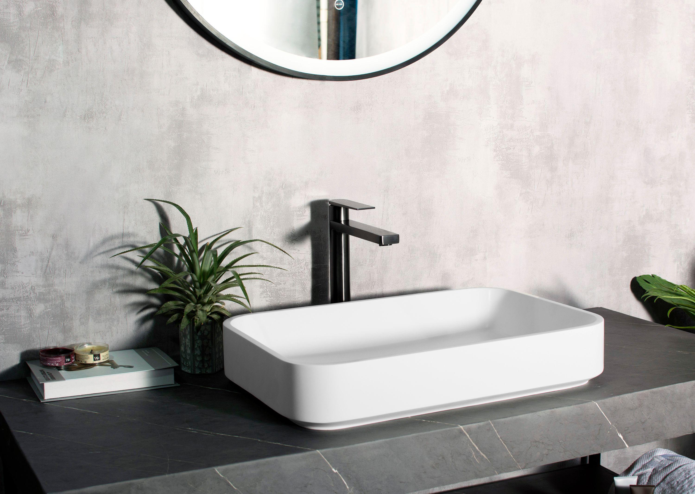 Aufsatzwaschbecken NT38 aus Mineralguss Solid Stone - Weiß matt - 60 x 40 x 11 cm
