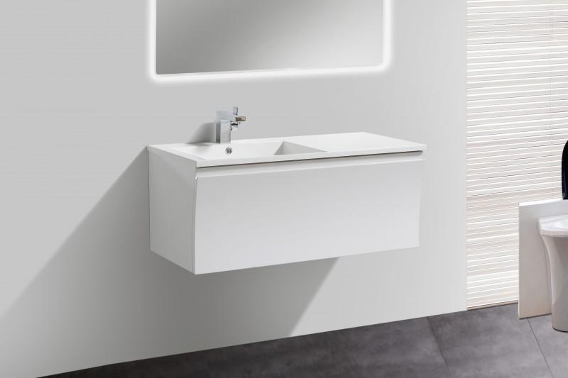 Badmöbel-Set Y1000 Weiß Hochglanz - Badspiegel optional wählbar