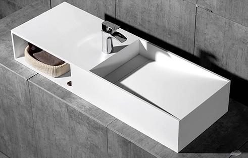 Aufsatzwaschbecken Wandwaschbecken TWG06 aus Mineralguss Solid Stone - 120 x 42 x 20 cm
