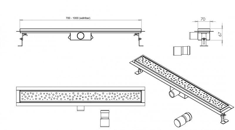 Edelstahl-Duschrinne GL02 für Duschkabine - Ablaufblende Glas weiß - Länge wählbar zoom thumbnail 4
