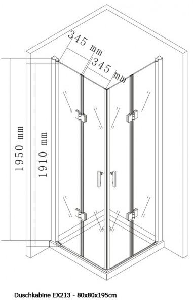 Duschkabine Eckeinstieg Falttür Nano Echtglas 8 mm EX213 - 80 x 80 x 195 cm zoom thumbnail 5