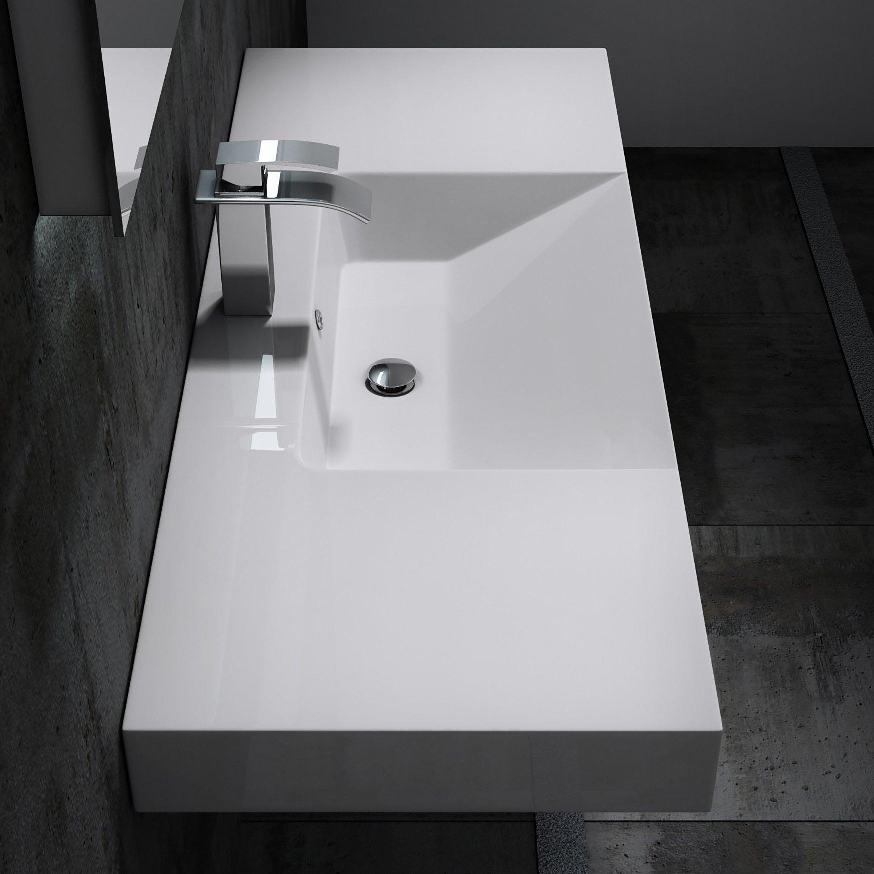 Wandwaschbecken BS6036 in Weiß - 122 x 48 x 13,5 cm  zoom thumbnail 4