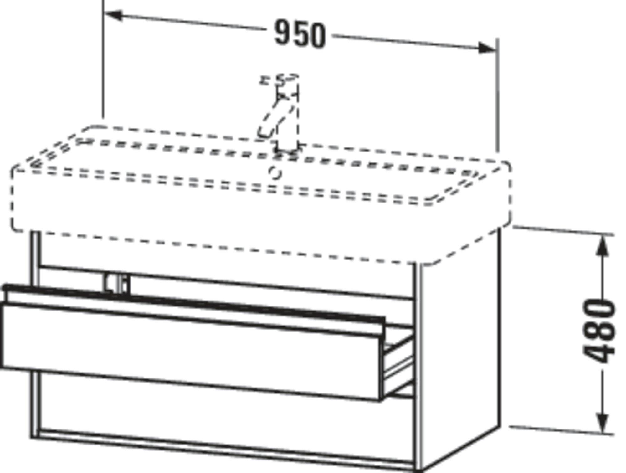 Duravit Ketho Badmöbel Set 950 mit Vero Waschtisch - Optional mit Seitenschrank und Spiegel  zoom thumbnail 3