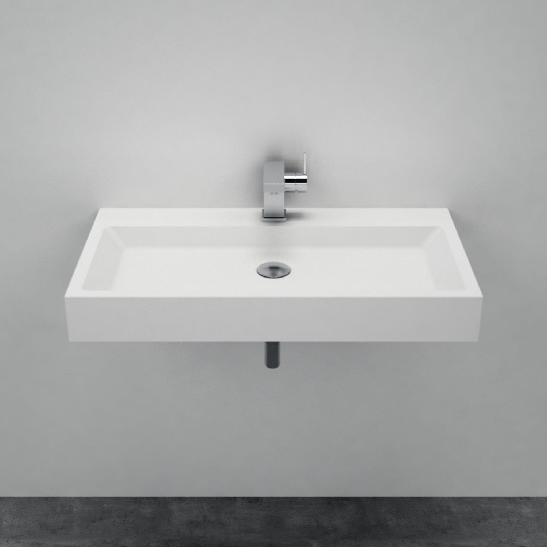 Waschbecken Aufsatzwaschbecken PB2143 aus Solid Stone Mineralguss – Weiß Matt – 80 x 42 x 10 cm zoom thumbnail 4