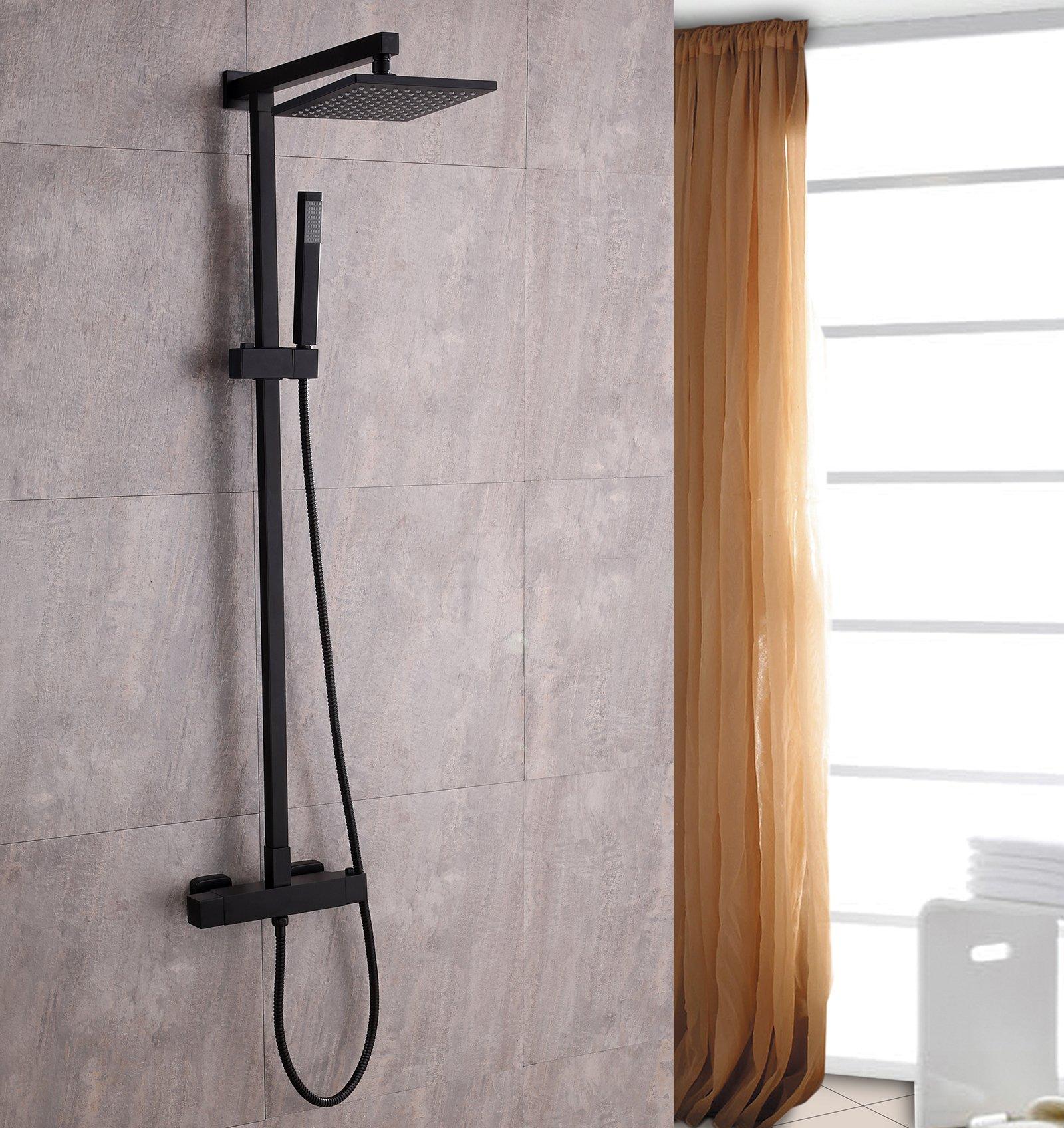 Design-Duschsystem Duschsäule SEDAL-Thermostat 8921B Basic in Schwarz - Auswahl ABS-Duschkopf eckig